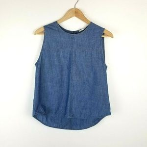 Eileen Fisher Chambray Sleeveless Top Size S